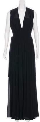 L'Agence V-Neck Maxi Dress