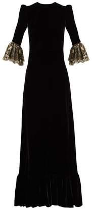 The Vampire's Wife Festival Lace Trimmed Velvet Midi Dress - Womens - Black Gold