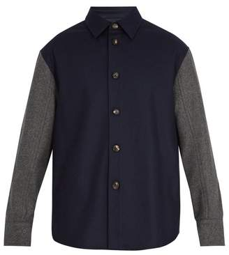 Marni Oversized contrast-panel wool-blend jacket