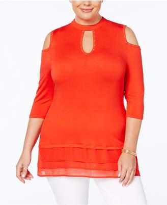 Belldini Plus Size Cutout Mock-Neck Tunic