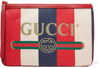 Gucci Printed Canvas And Leather Pouch - Red