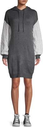 Solutions Cable-Sleeve Hooded Sweater Dress