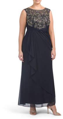 Plus Lace Bodice Gown