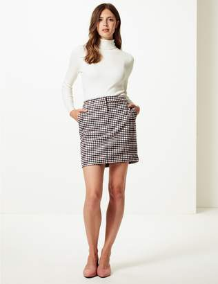 Marks and Spencer Checked A-Line Mini Skirt with Wool