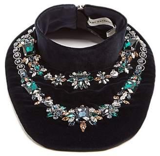 Mary Katrantzou Crystal Embellished Velvet Bib Necklace - Womens - Navy