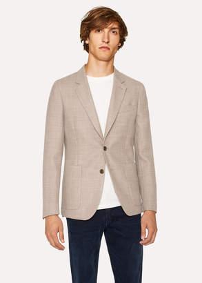 Paul Smith Men's Tailored-Fit Beige Basket-Weave Wool Blazer