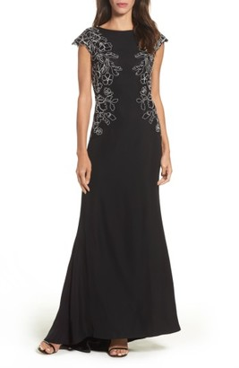 Women's Tadashi Shoji Embroidered Woven Gown $468 thestylecure.com
