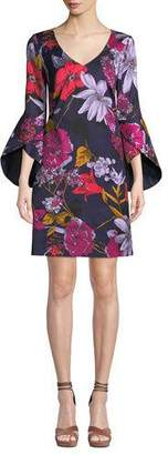 Trina Turk Cheers Grand Garden Bell-Sleeve Dress