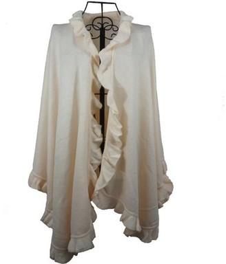 Nice & Great Luxury Women Ruffle Edge Poncho Knitted Shawl Premium Lady Soft Knit Cape Jacket Fashion Scarf Stretchy Wrap Over Solid Color Girl Large Shawl Elegant Cloak Warmer, Ivory