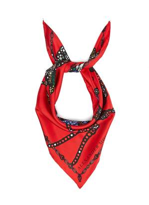 Alexander McQueen Spider and jewel-print silk scarf