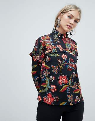 Vero Moda floral high neck blouse