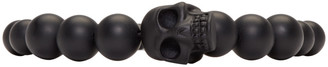 Alexander McQueen Black Beaded Skull Bracelet $185 thestylecure.com
