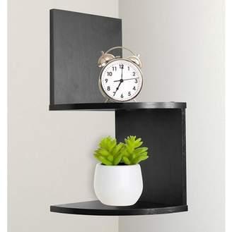 GreenCo Greenco Modern Design 2 Tier Corner Floating Shelves, Espresso.