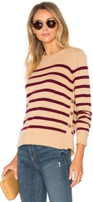 Autumn Cashmere Breton Side Button Stripe Sweater $330 thestylecure.com
