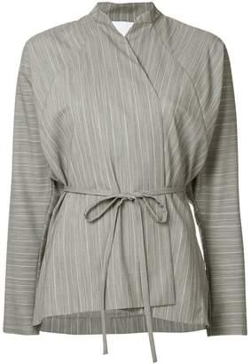 CHRISTOPHER ESBER striped wrap blouse