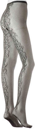 Via Spiga Floral Back Seam Fishnet Tights - Women's