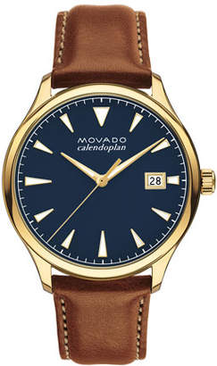 Movado 40mm Heritage Watch with Leather Strap
