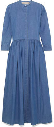 Brock Collection Disco Pleated Denim Midi Dress - Mid denim
