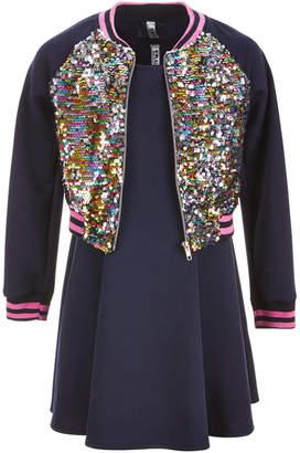 Beautees Big Girls Plus 3-Pc. Reversible Sequin Bomber Jacket, Dress & Bow Set