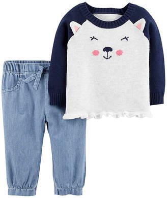 Carter's 2pc Bear Top & Pant Set- Baby Girl
