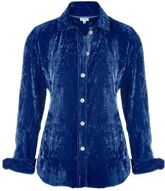 At Last... - Karen Silk Velvet Shirt Royal Blue