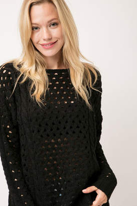Cozy Casual Chunky Knit Eyelet Black Sweater