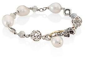 John Hardy Legends Naga 10MM White Baroque Pearl & White Moonstone Station Bracelet