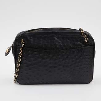 d4b80e7fd7b4 Chanel Vintage Camera Black Ostrich Handbag