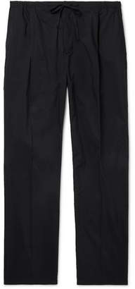 Bottega Veneta Black Wide-Leg Technical Cotton-Blend Poplin Drawstring Trousers - Men - Black
