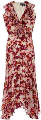 Saloni Rita Ruffled Printed Silk Dress $595 thestylecure.com