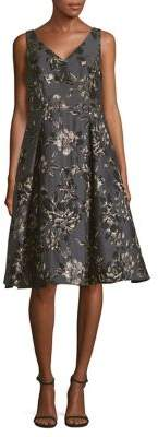Adrianna Papell Floral Jacquard Fit-&-Flare Dress