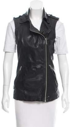 Aqua Leather Biker Vest