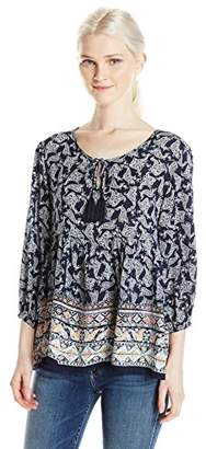 Love By Design Junior's Long Sleeve Printed Blouse