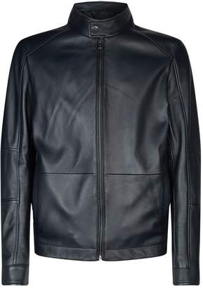 BOSS Leather Funnel Neck Jacket