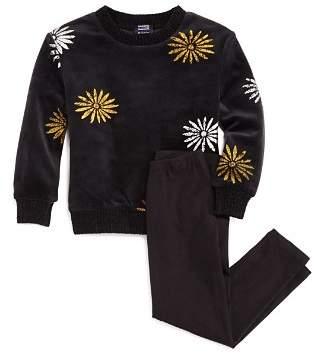 Splendid x Margherita Girls' Velour Metallic-Daisy Sweatshirt & Leggings Set - Little Kid