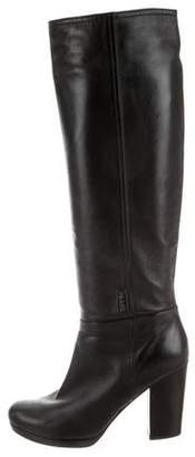 Prada Leather Round-Toe Mid-Calf Boots