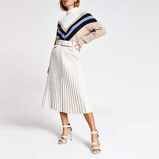 River Island Cream pleated faux leather midi skirt