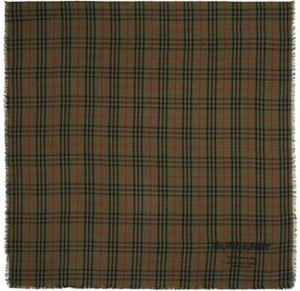 Burberry Green Cashmere Lightweight Vintage Check Scarf