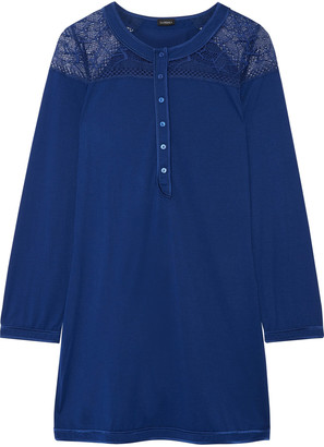 La Perla Myrta lace-paneled modal-blend nightdress $228 thestylecure.com