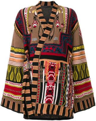 Etro jacquard patch pattern wrap jacket