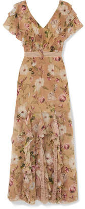 Alice + Olivia Cassidy Ruffled Silk-georgette Maxi Dress - Beige