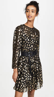 Rebecca Taylor Long Sleeve Leopard Metallic Dress