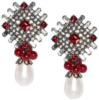 Kenneth Jay Lane Ruby And White Pearl Drop Pierced Or Clip Earrings