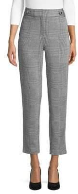 Calvin Klein Glen Plaid High-Rise Skinny Pants