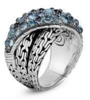 John Hardy Classic Chain Silver, London Blue Topaz, Swiss Blue Topaz& Blue Zircon Crossover Ring