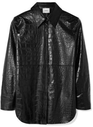Nanushka - Naum Croc-effect Vegan Leather Shirt - Black