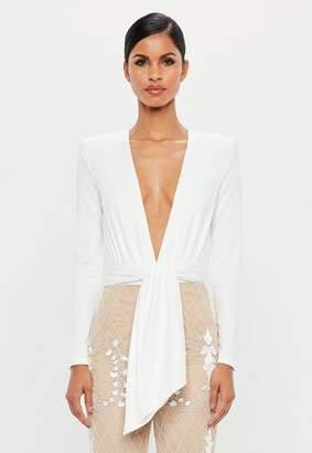 Missguided White Wrap Bodysuit