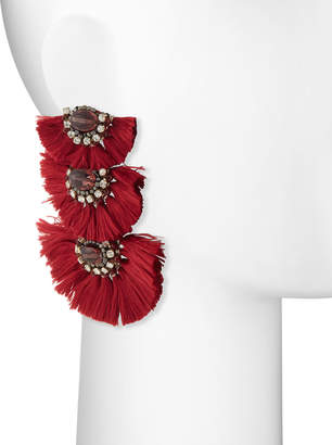 Nakamol Three-Tier Tassel Drop Earrings, Red
