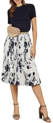 Ted Baker Bekzi Bluebell Pleated Combo Midi Dress