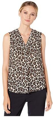 Vince Camuto Sleeveless V-Neck Elegant Leopard Blouse